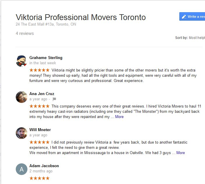 Viktoria Professional Movers – Moving reviews
