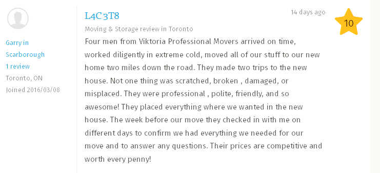 Viktoria Professional Movers – Homestars review