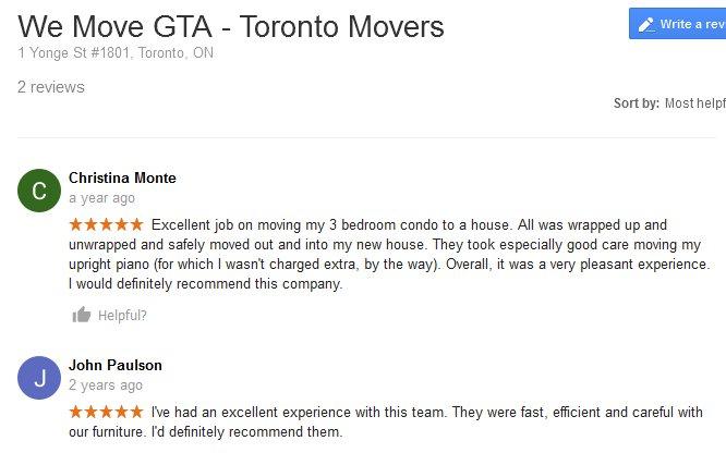 We Move GTA – Moving reviews