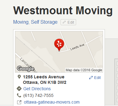 Westmount Moving – Location