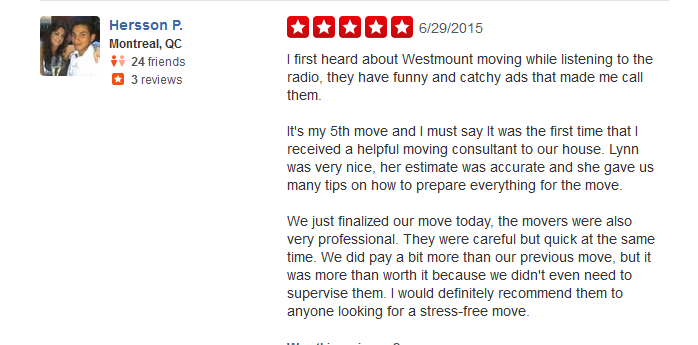 Westmount Moving – Moving review