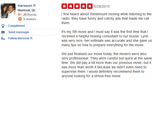 Westmount Moving – Customer review