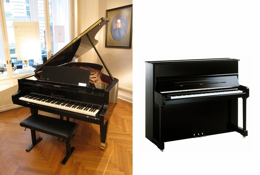 A grand piano and an upright piano requires special and expert handling for short or long distance relocation CC BY-SA 3.0, https://commons.wikimedia.org/w/index.php?curid=19732732