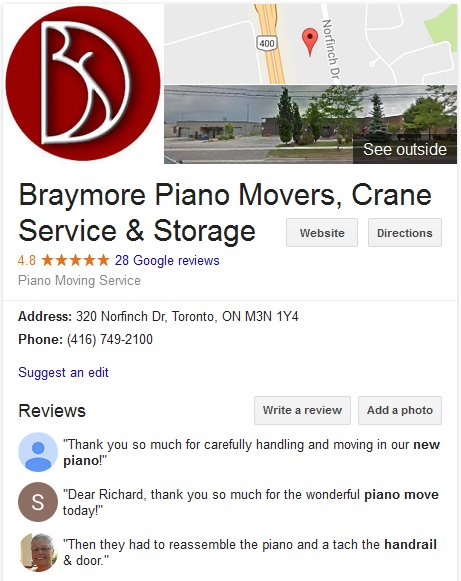 Braymore Piano Movers – Location and reviews