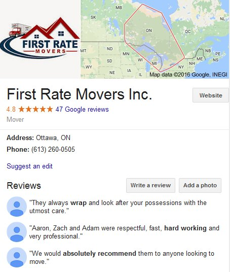 First Rate Movers – Location and reviews