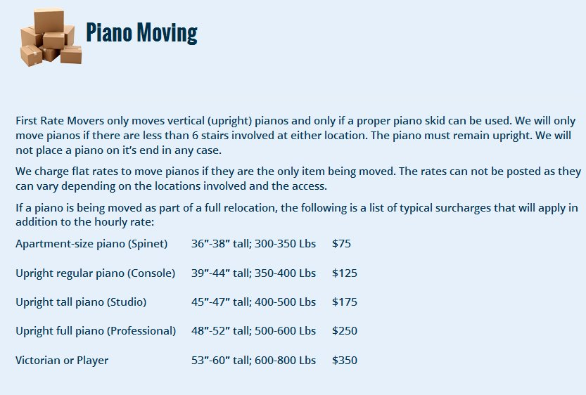 First Rate Movers – Piano moving rates