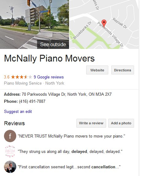 McNally Piano Movers – Location and reviews