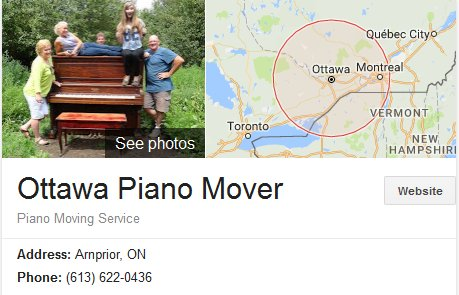 Ottawa Piano Mover - Location