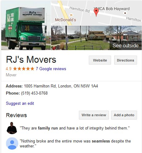 RJ's Movers – Location and reviews