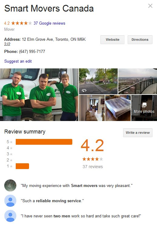 Smart Movers Canada – Location and reviews