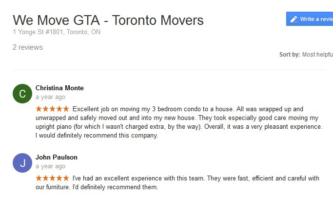 We Move GTA – Moving reviews