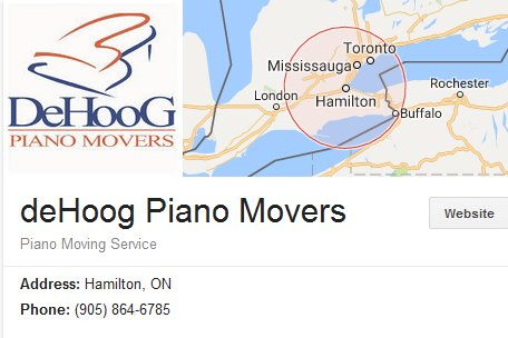 deHoog Piano Movers – Location