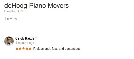 deHoog Piano Movers – Moving review