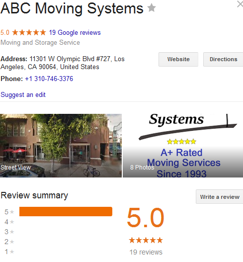 ABC Moving Systems – Movers' Location and rating
