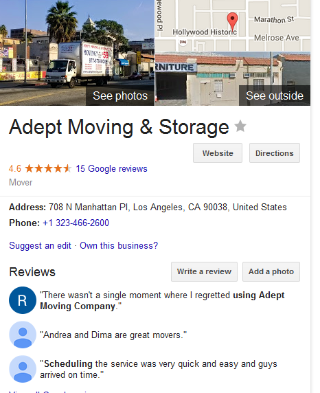 Adept Moving and Storage – Mover's Location and ratings