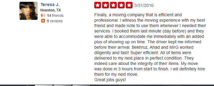 Best Movers Houston Yelp Review 5 Movers Quotes
