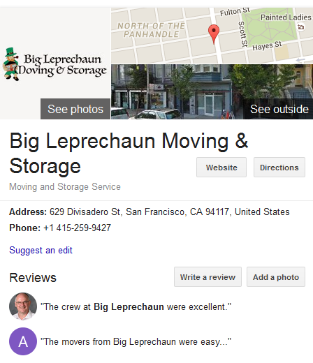 Big Leprechaun Moving and Storage – Movers' Location