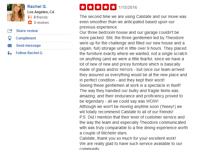 Calstate Moving and Storage – moving company customer's review
