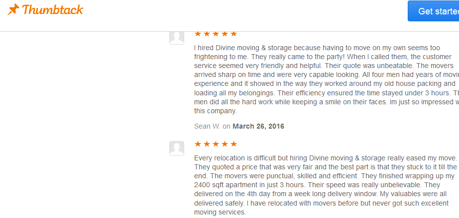 Diving Moving and Storage – Customer reviews