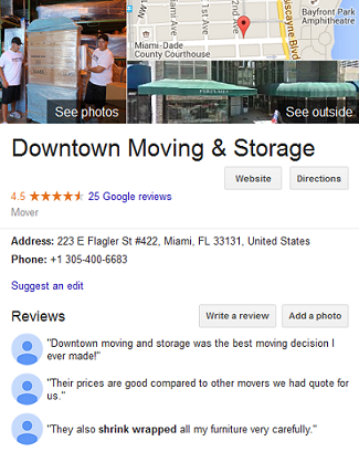 Downtown Moving and Storage – Movers' Location