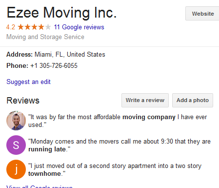 Ezee Moving – Movers' Location