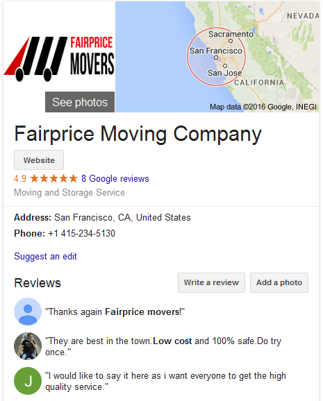 Fairprice Moving and Storage – Movers' Location