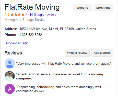 Flat Rate Moving – Movers' location