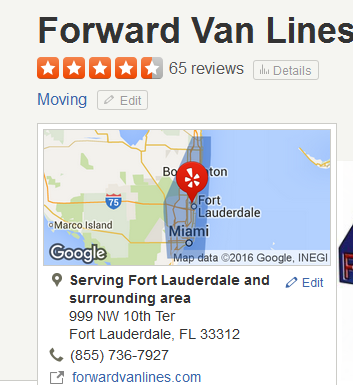 Forward Van Lines – Movers' Location