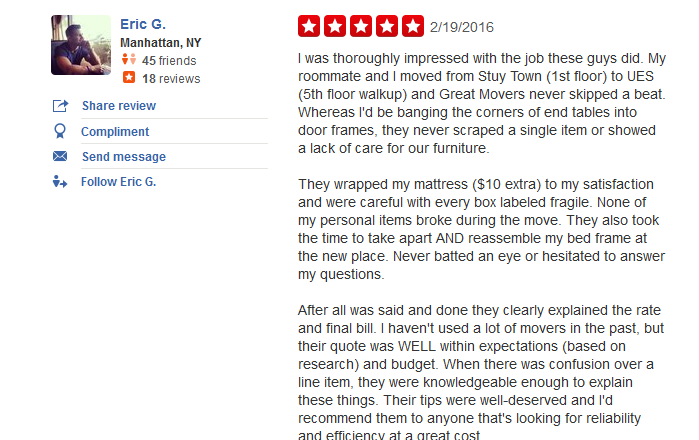 Great Movers – Customer review