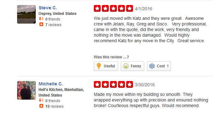 Katz Moving – Customer reviews