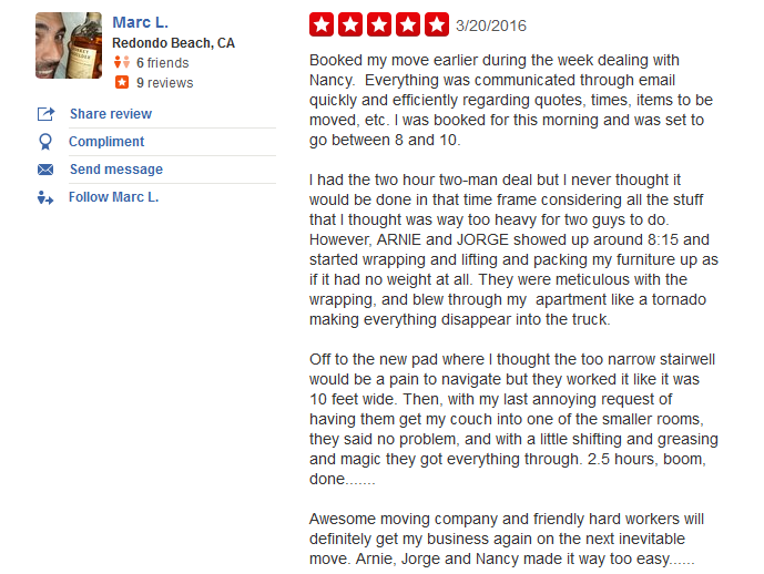 Man with a Truck Moving –Moving Company Customer review