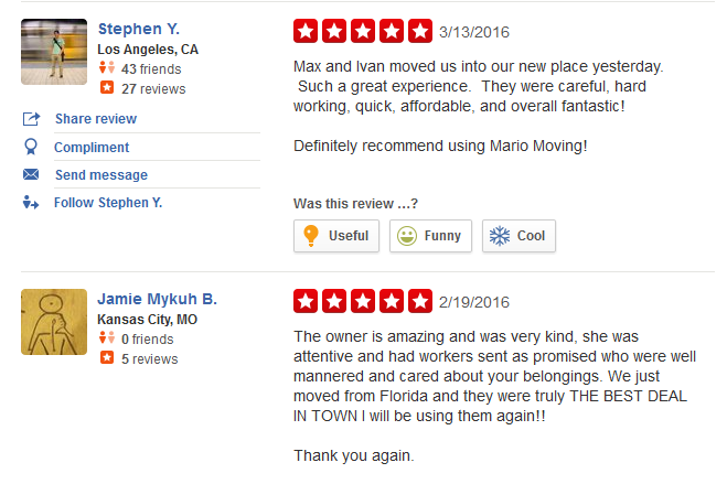 Mario Moving – Moving company customer reviews