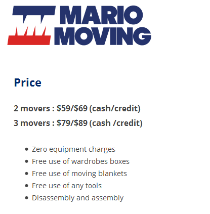 Mario Moving – Moving rates