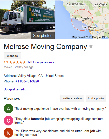 Melrose Moving Company – Movers' Location and ratings