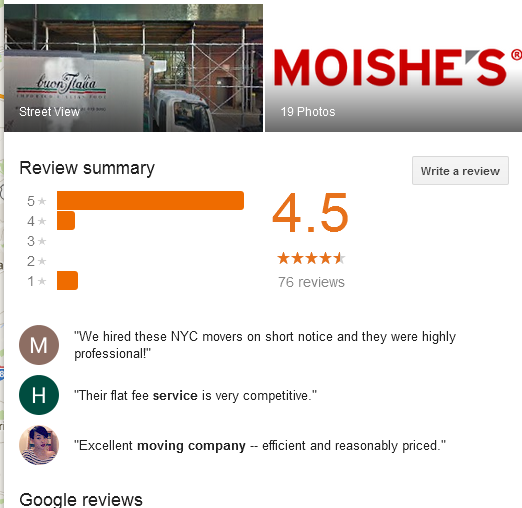 Moishe's Moving and Storage – Rating and Reviews