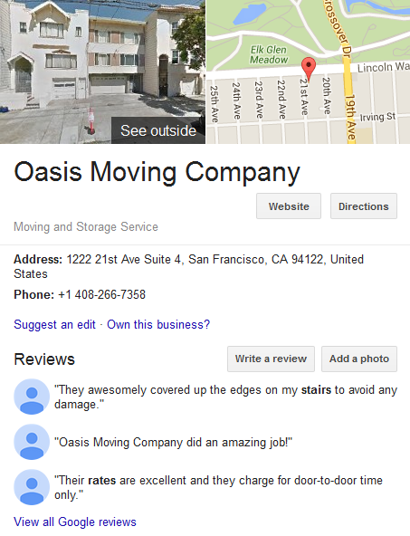 Oasis Moving Company – Movers' location