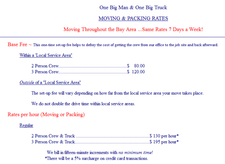 One Big Man, One Big Truck – Moving rates