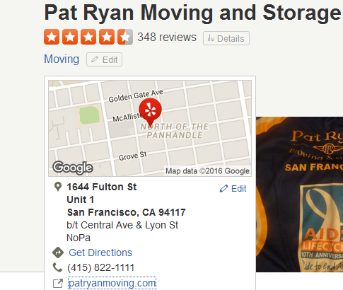 Pat Ryan Moving and Storage – Movers' Location