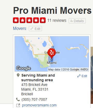 Pro Miami Movers – Movers' Location