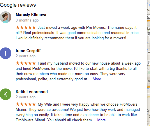 Pro Miami Movers – customer reviews