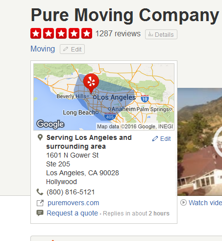 Pure Moving Company – Movers' Location