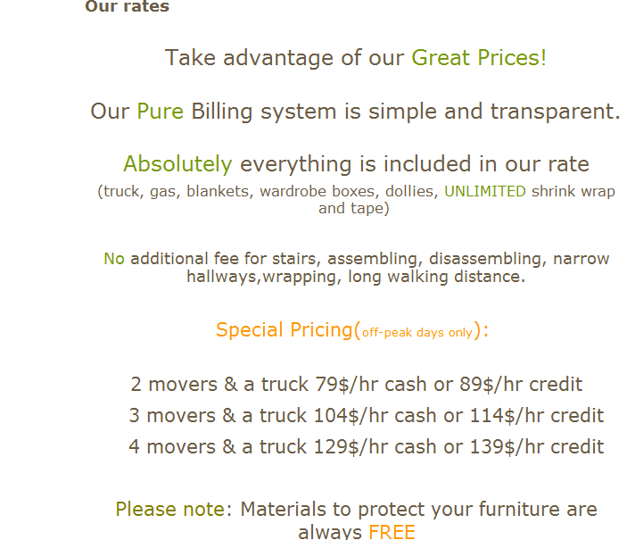 Pure Moving Company – moving rates