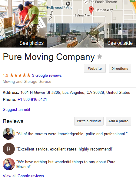 Pure Moving Company – moving company more customer reviews