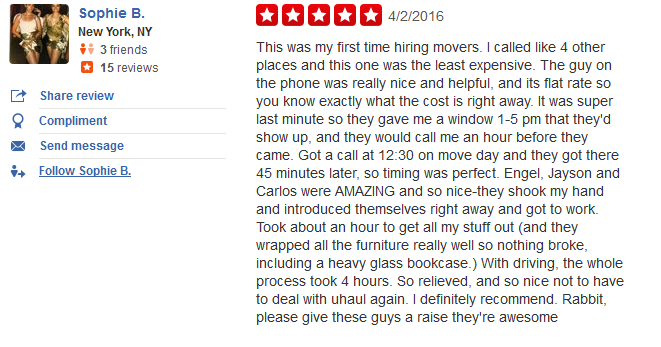 Rabbit Movers – Customer review