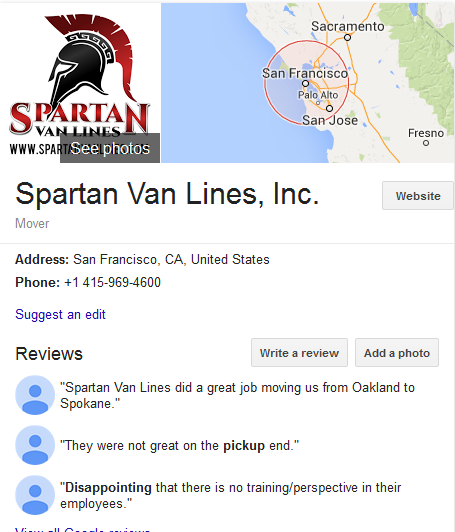 Spartan Van Lines – Moving company Location