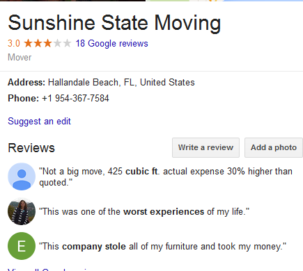Sunshine State Moving – Movers' location