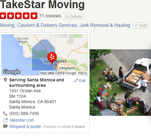 TakeStar Moving – Movers' Location