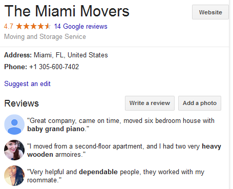 The Miami Movers – Movers' Location