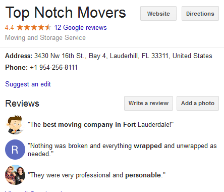 Top Notch Movers – Movers' Location
