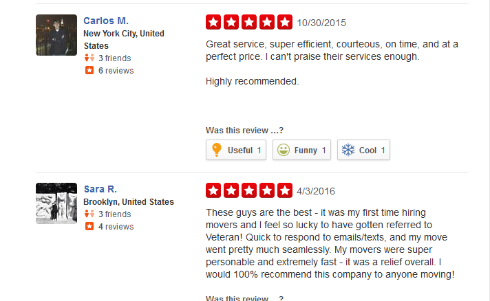 Veteran Movers NYC – Customer reviews